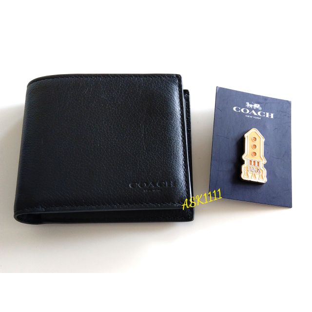 Coach  F74991 黑色 男仕短夾 保證正品(全新)[美國購入]