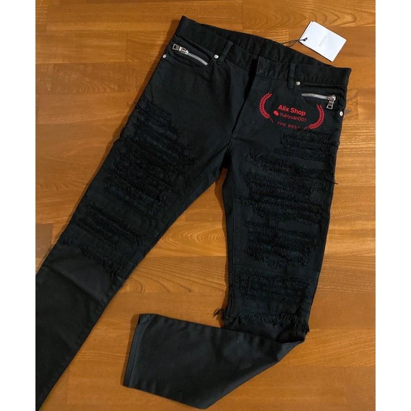 Balmain 巴爾曼黑色刀割 縫補大破壞33/34 腰牛仔褲