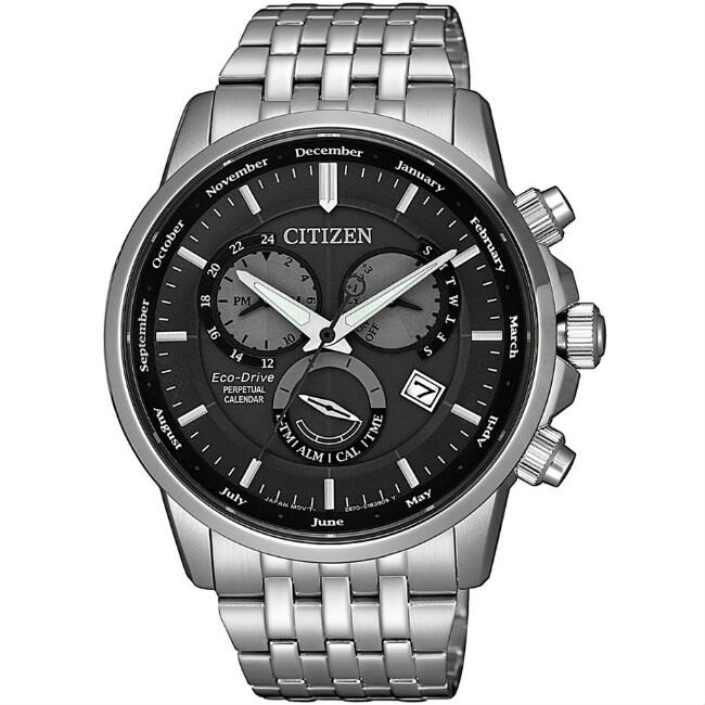 CITIZEN 星辰錶 BL8150-86H GENT'S 光動能萬年曆三眼腕錶 /黑x銀 42mm