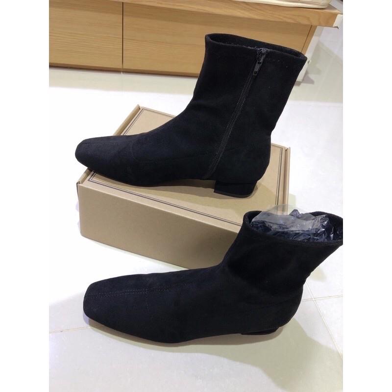 【二手】D+AF人氣指標.素面車線方頭低跟襪靴 黑色絨布 42(26cm)