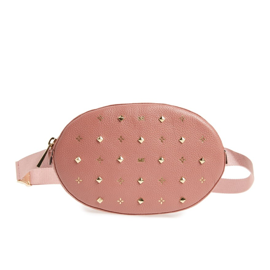 MICHAEL KORS 胸包 腰包 斜背包 荔枝紋真皮皮革 梅西專櫃款 M32233 乾燥玫瑰色MK(現貨)