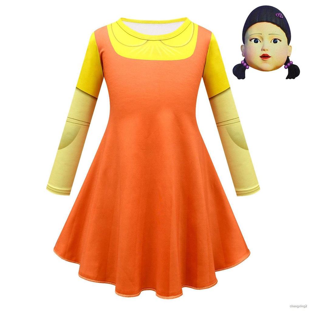 ✨【魷魚遊戲】✨服裝 Squid Game123木頭人衣服面具童連衣裙80599