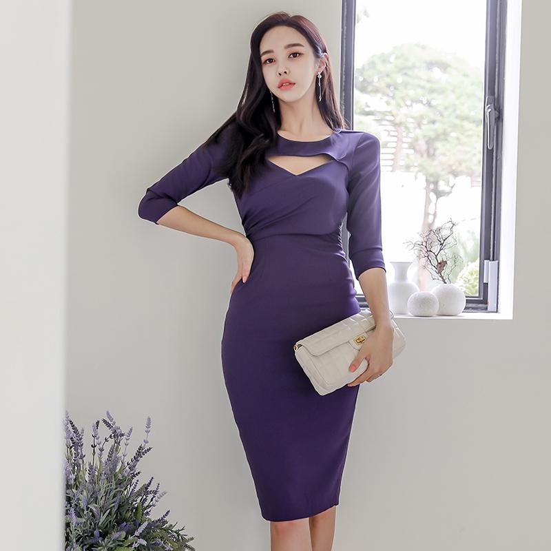 後背蝴蝶結七分袖宴會洋裝正韓禮服設計感紫色及膝洋裝一步裙包臀連身洋裝尾牙洋裝