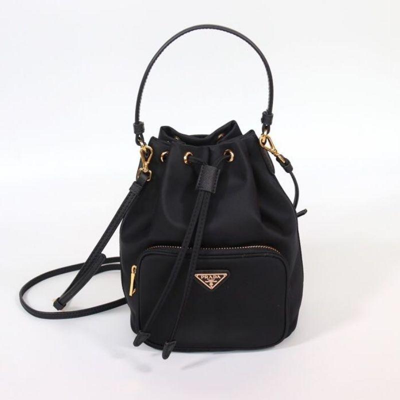 Prada普拉達水桶包 Prada Fabric Shoulder Bag黑色超纖尼龍手提後背包迷你水桶包 尼龍包 手提