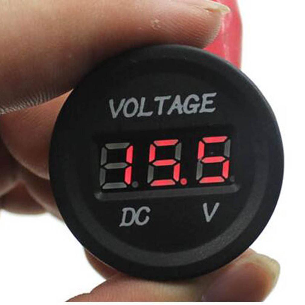 【BDS】12V-24V電壓表 防水 數位 崁入式 圓形 LED 機車 汽車 崁入 電壓錶 防水電壓表