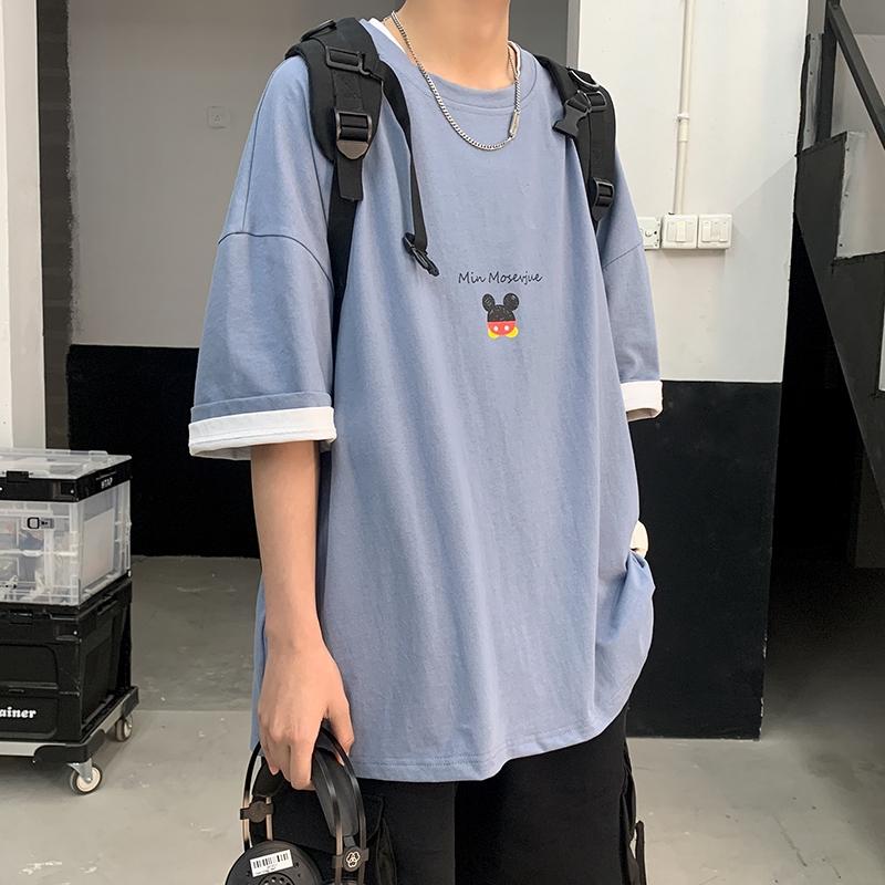 夏日學院範 2020夏季新款潮流卡通印花cec寬鬆短袖T卹情侶潮牌體卹衫