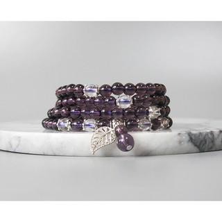 【古玩波波】特價出清 紫水晶配白水晶多圈手鏈藏銀108顆念珠6mm--705391 臺中市