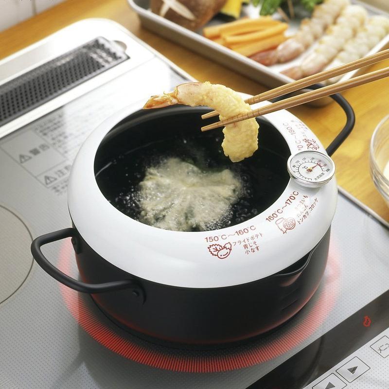 年貨日本進口帶溫度計防濺油炸鍋家用煤氣電磁爐通用不粘鍋控溫鍋
