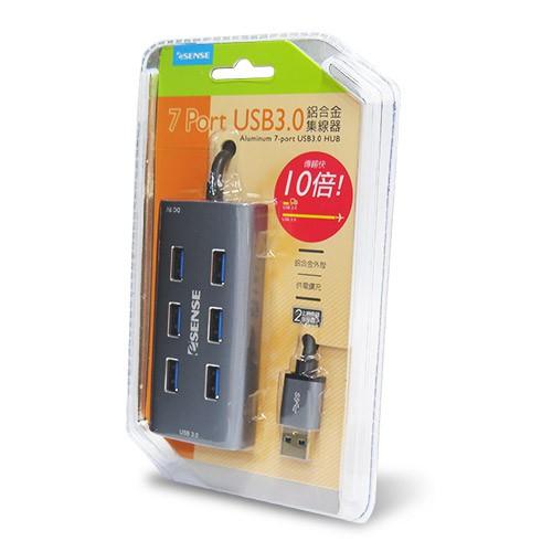 全新含發票~Esense 鋁合金 7 Port USB3.0 HUB USB3.0集線器 線長1公尺