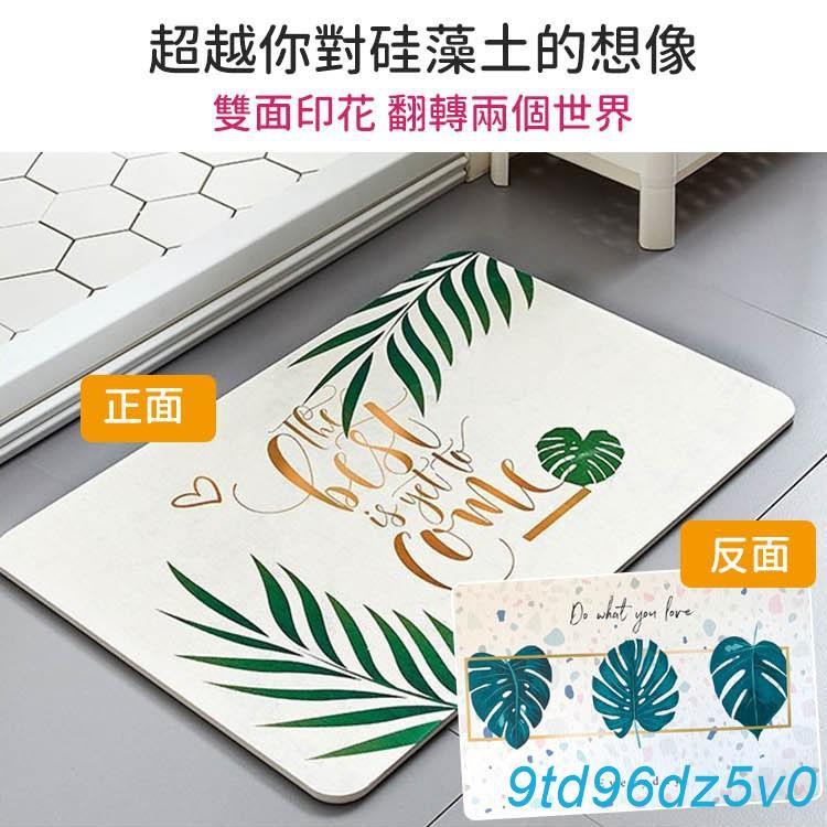 【9td】臺灣SGS認證無石棉珪藻土 北歐插畫雙面印花加大加厚硅藻土地墊60*39cm【DNA019】