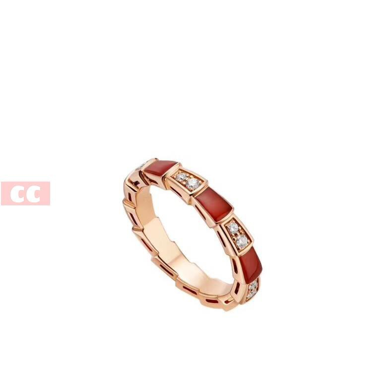 CC配飾|經典款 寶家BV蛇骨戒指 925純銀 鑲鉆間紅玉髓女指環 窄/CC