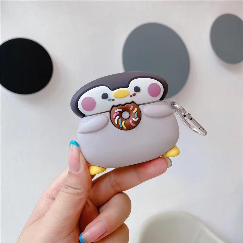 『甜甜圈』現貨> AirPods保護套 蘋果耳機AirPods Pro保護套 可愛柴犬 企鵝 全包防摔硅膠耳機保護殼