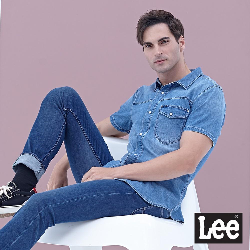 Lee 短袖牛仔襯衫 男 中藍 前口袋刷色 101+