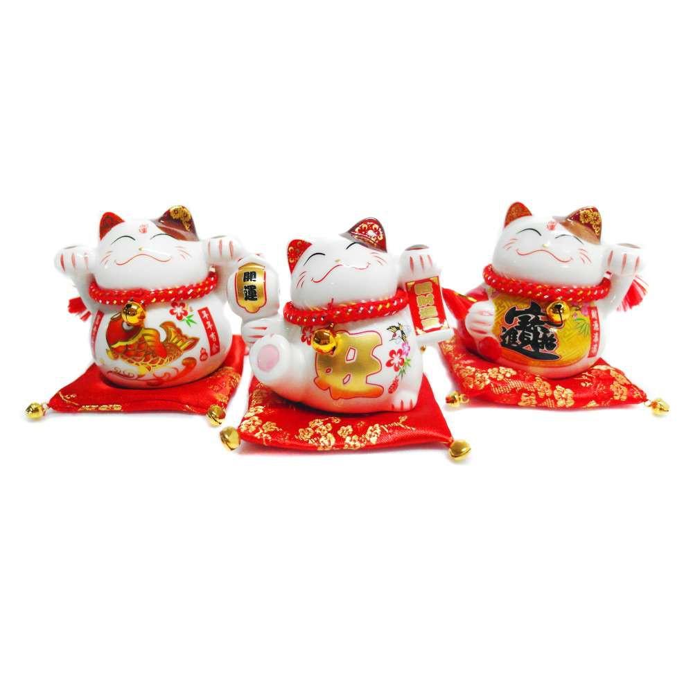 心可樂活 農曆新年春節◉開運陶瓷4吋魚旺寶小招財貓-存錢桶開運三入組-擺飾桌飾(含坐墊)