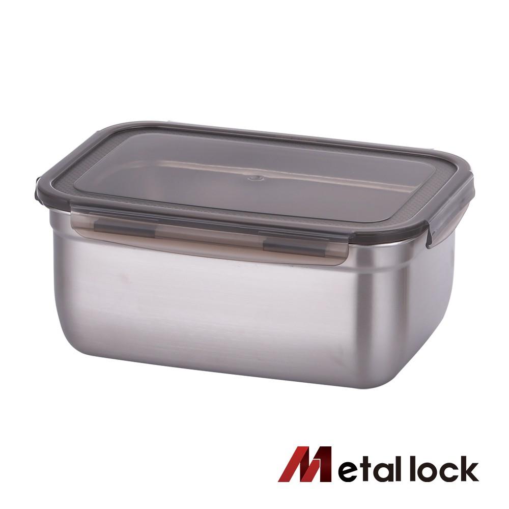 韓國Metal lock 方形不鏽鋼保鮮盒3800ml 露營野餐不銹鋼環保收納大容量食物醃漬密封罐樂扣蓋便當飯盒