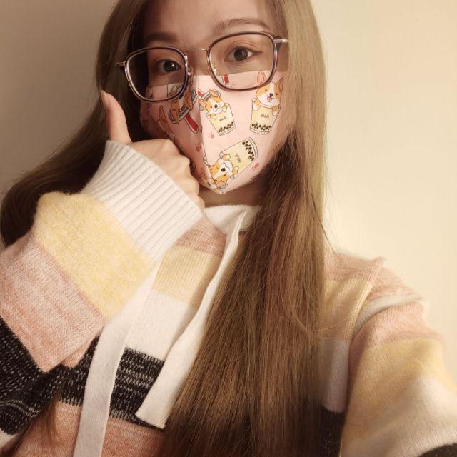 [RuRu布動] 💕🎈👏奶茶柯基 粉色 立體裁剪 兩用布口罩 口罩套