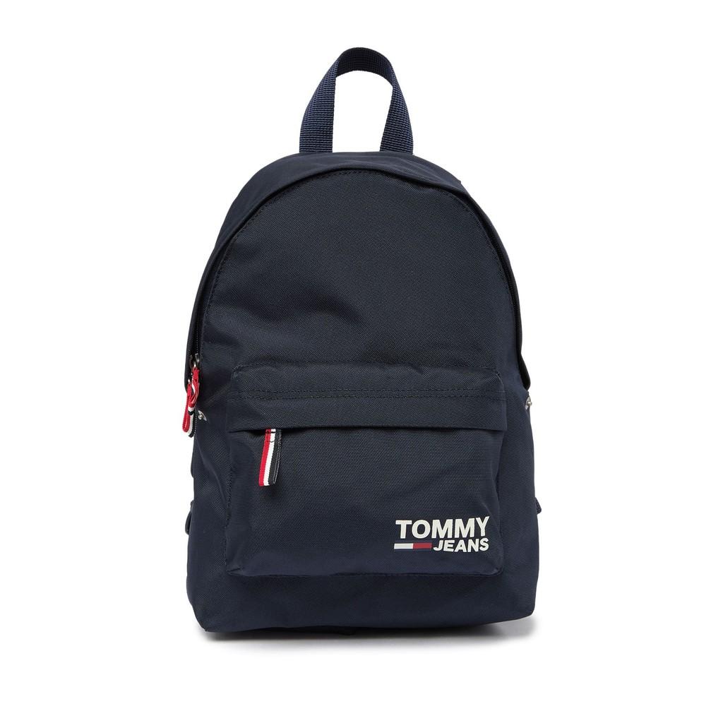 【Tommy Hilfiger】Tonny Jeans全新美式休閒後背包 尼龍拉鍊後背包-黑色