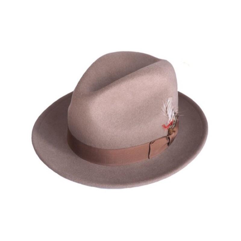 美國 NEW YORK HAT 手工紳士帽 - THE FEDORA 三凹長簷紳士帽 - 杏仁色