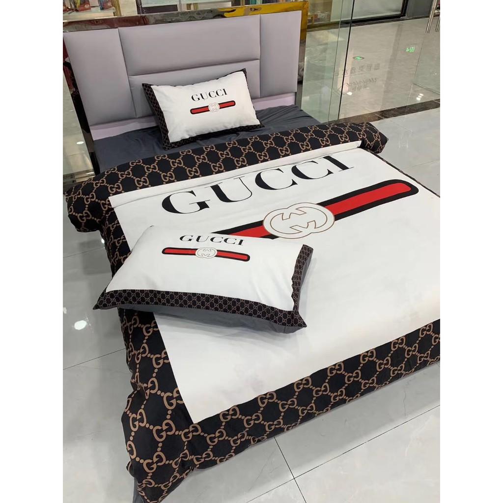 熱賣GUCCI品牌LOGO保暖棉含麿毛床包 床包四件套 寢具專用  雙人床包 雙人加大 床包 床罩 親膚棉床包10