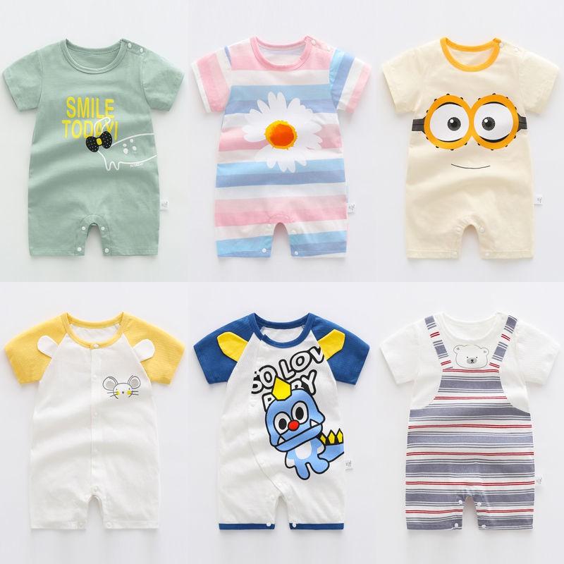 [童裝精選] 嬰兒短袖純棉連體衣女寶寶男夏裝爬服新生睡衣夏季半袖哈衣3個月6