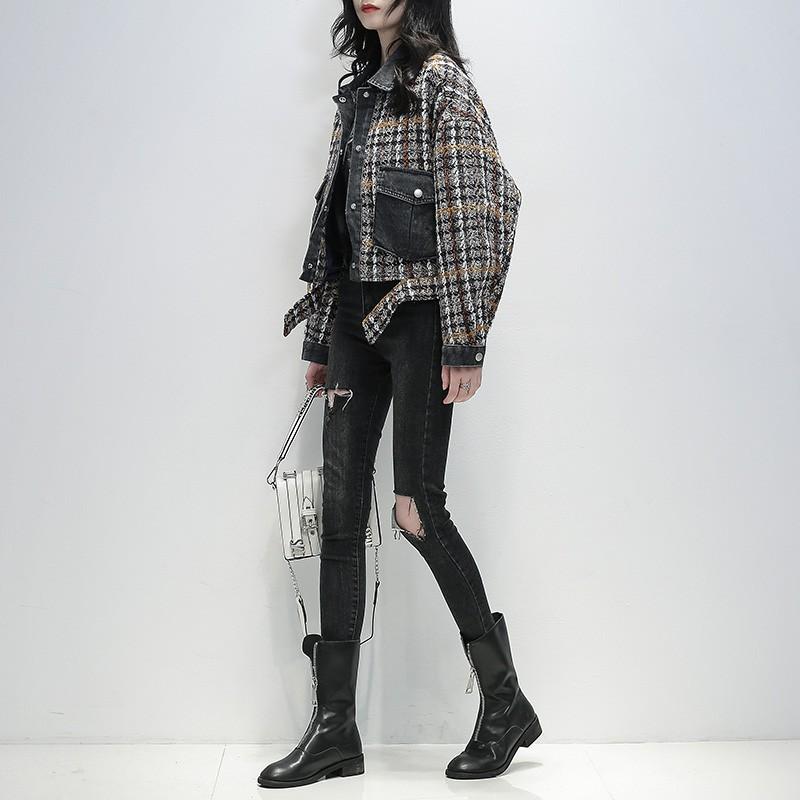 (雙11) 全場下殺 小短款毛呢外套女香風2020秋裝新款小個子韓版寬松牛仔格拼接風衣