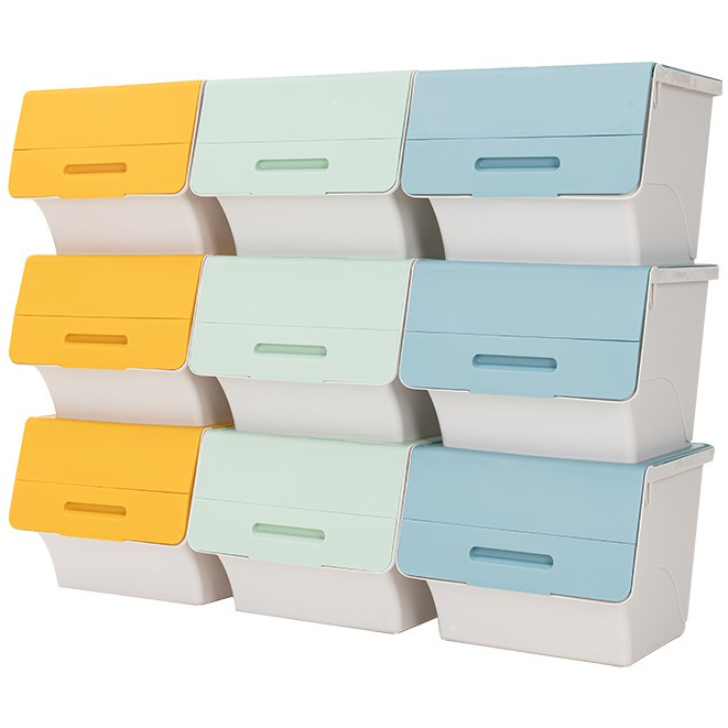 %採購價% 滿1000出貨 45L 大容量掀蓋斜口收納箱 3入 前開式收納箱 收納盒 翻蓋式收納箱 置物箱 衣物收納 整