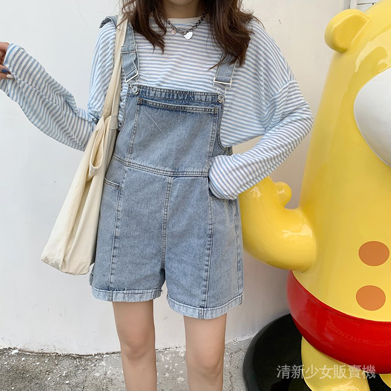 韓國短褲百搭背帶褲女2020夏季新款韓版寬鬆減齡薄款闊腿牛仔褲潮 frHh