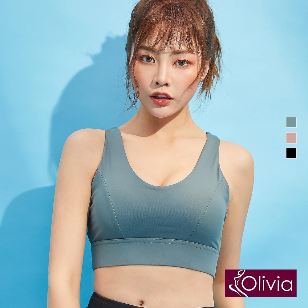 【olivia】後交叉美背中度運動內衣-綠色