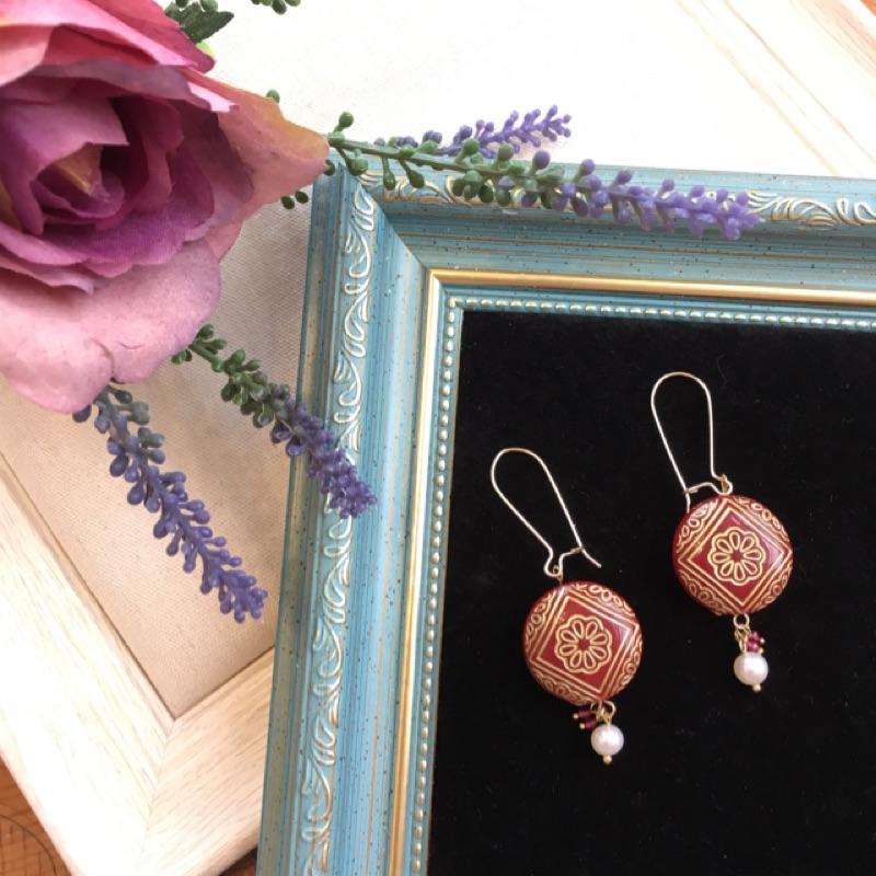 Drypiö 設計款 復古玫瑰 古董珠 耳環