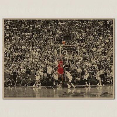 JORDAN NBA 喬登 最後一擊 公牛 橫版 籃球 懷舊復古 牛皮紙 海報 壁貼
