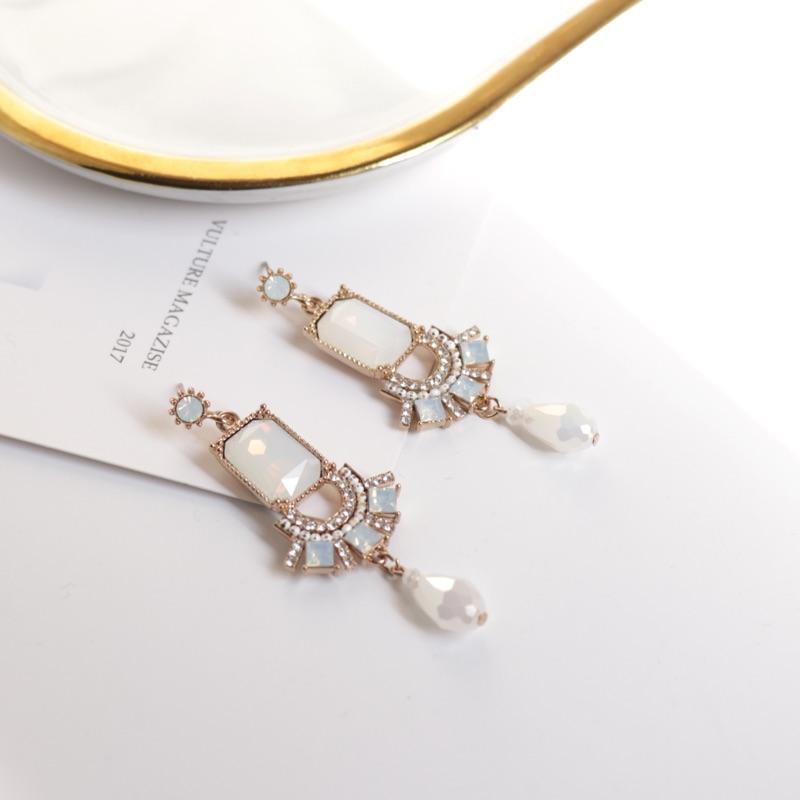 韓國優雅手工垂墜銀針耳環
