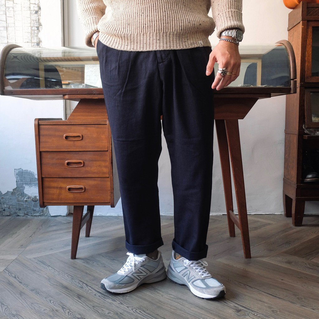 舒適極了! COF Studio 意大利雙染藍染帆布雙褶寬鬆錐形長褲