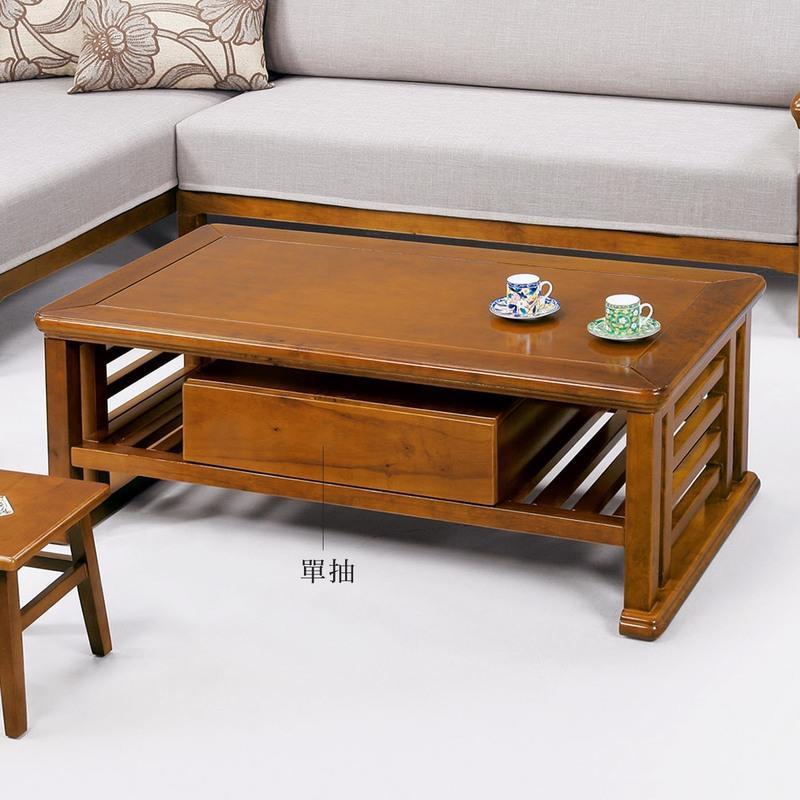 19 歡樂購-988型樟木色實木4.3尺單抽大茶几含玻~附腳椅*2 KH8-4