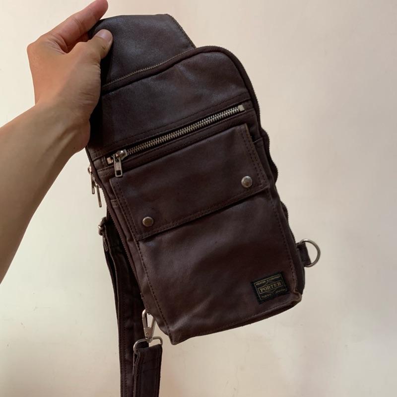 「二手包」YOSHIDA PORTER 斜背包(深咖啡色)