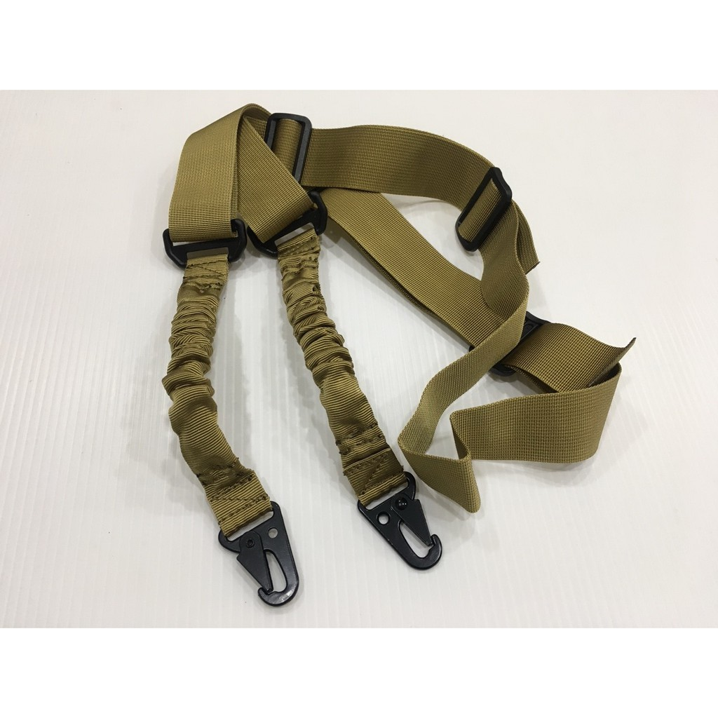 2點 加厚 槍背帶 雙點 背帶 槍帶 槍繩 雙槍繩  玩具 BB彈 CO2 手拉 空氣 DE 沙色 彈簧繩