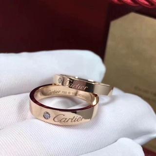 ❐經典 Cartier/ 卡家簽名款戒指 18K玫瑰金 鑲鑽男女情侶對戒婚戒