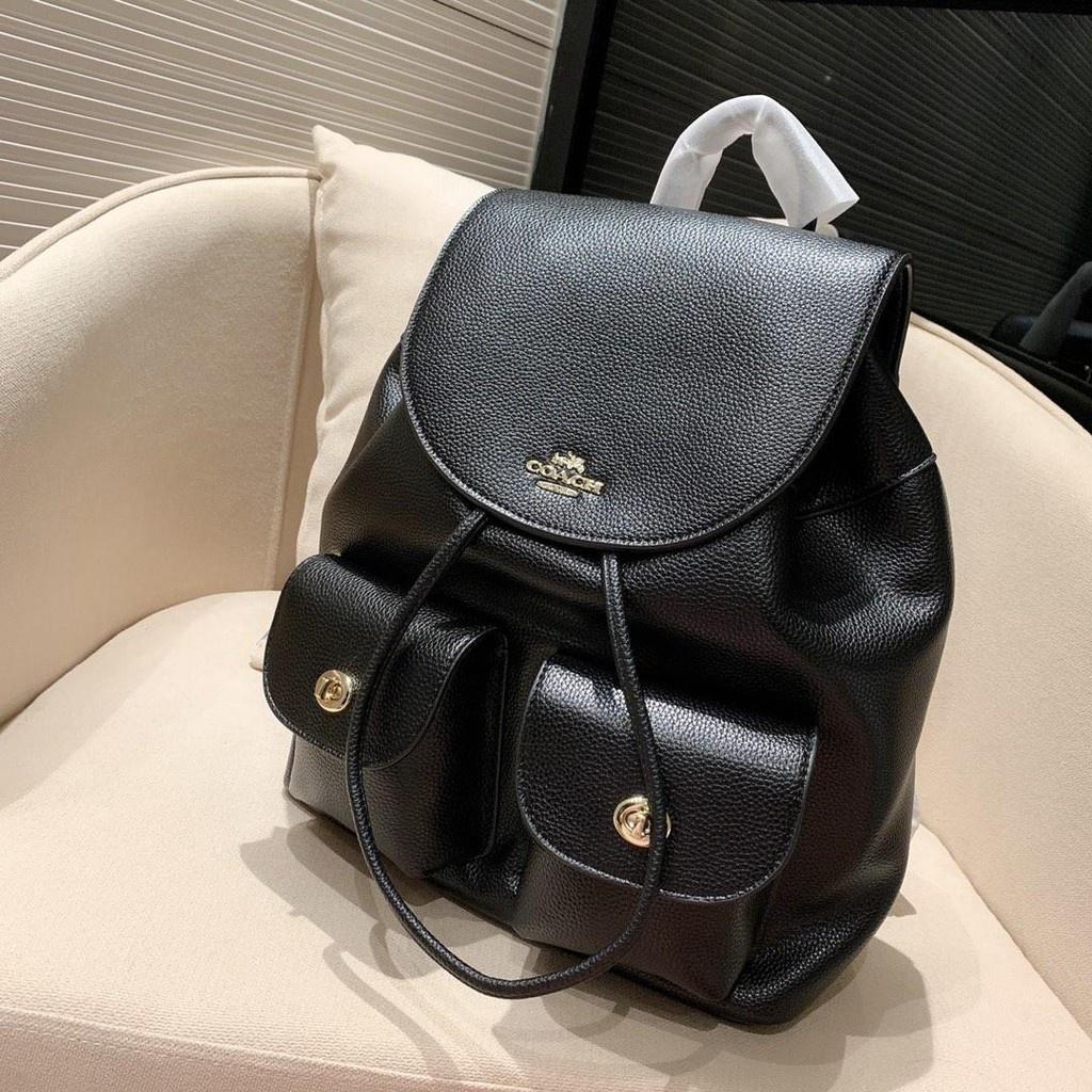 美國代購 COACH 蔻馳女包 F37410 大號翻蓋抽繩雙肩包 大容量牛皮後背包 多口袋 出差旅行包 書包