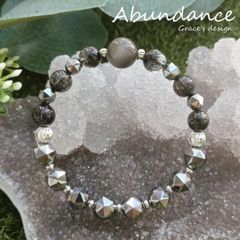   銀曜石•黑髮晶•鈦赫茲石  🖤Abundance療癒能量水晶手鍊.避邪防小人