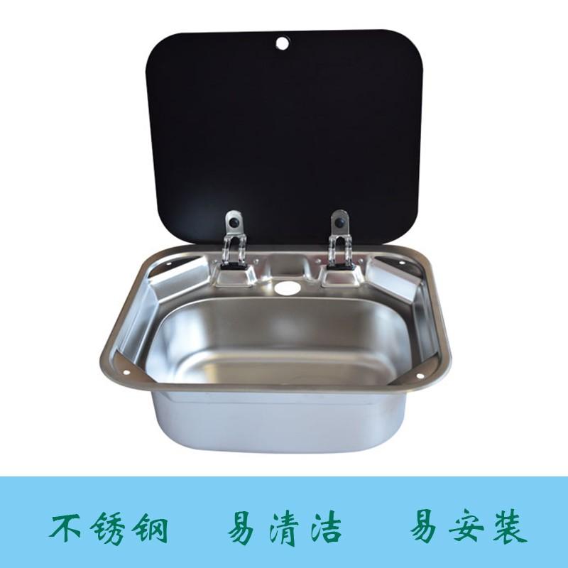 (台灣現貨)露營車 房車方形帶蓋水槽 優質304不銹鋼 鋼化玻璃 下水流暢 廚房水盆 含冷熱水龍頭
