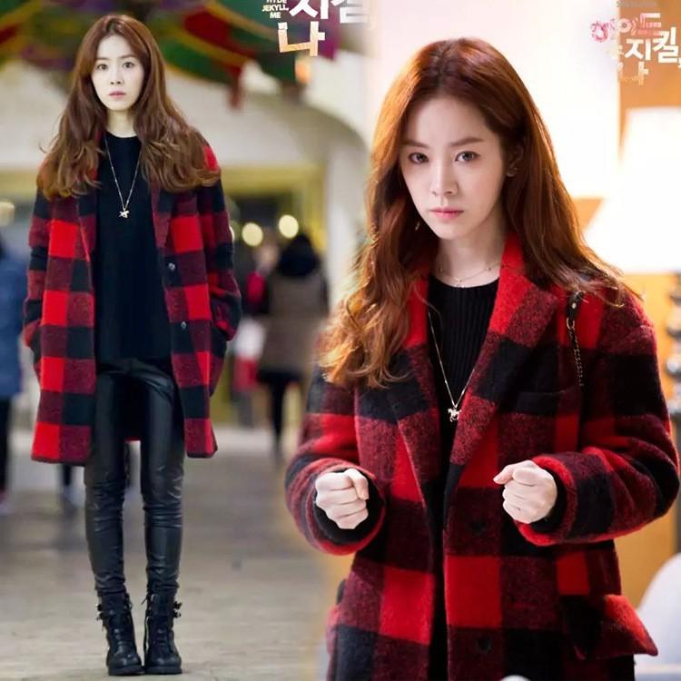 #韓版紅格子毛呢羊絨大衣