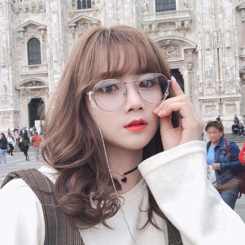 (預購) YYCP韓系復古銀色細框眼鏡(附鏈條)