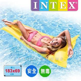 【INTEX原廠㊣艷彩螢光水上 飄浮床/  浮排 】(森野玩家)游泳 戲水 全防水可當 沙灘墊 情趣墊 充氣墊 桃園市