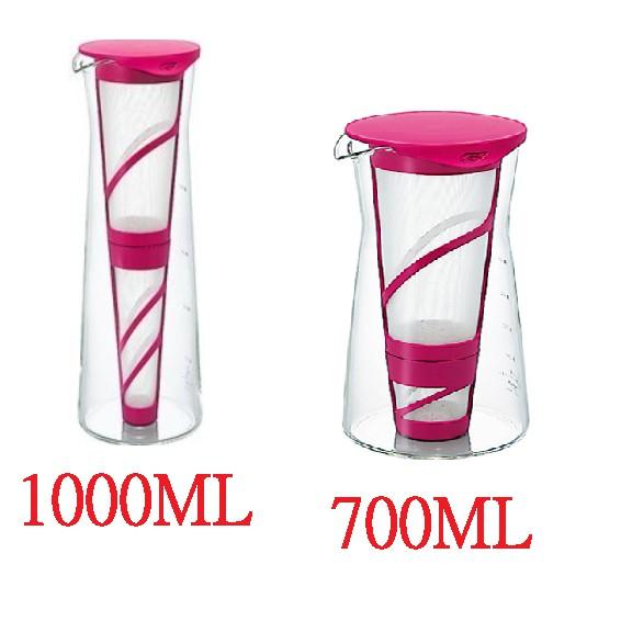 日本 HARIO 桃紅冷泡茶壺 1000ml、700ML