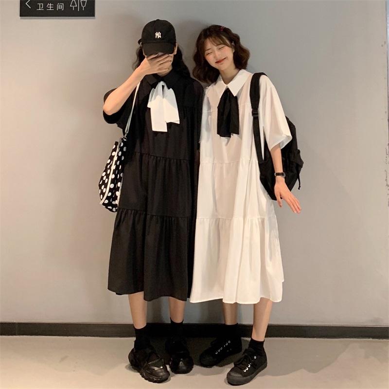 五分袖洋裝 閨蜜裝 寬鬆潮流 時尚 休閒簡約洋氣 韓版中長款蝴蝶結顯瘦 學院風學生洋裝