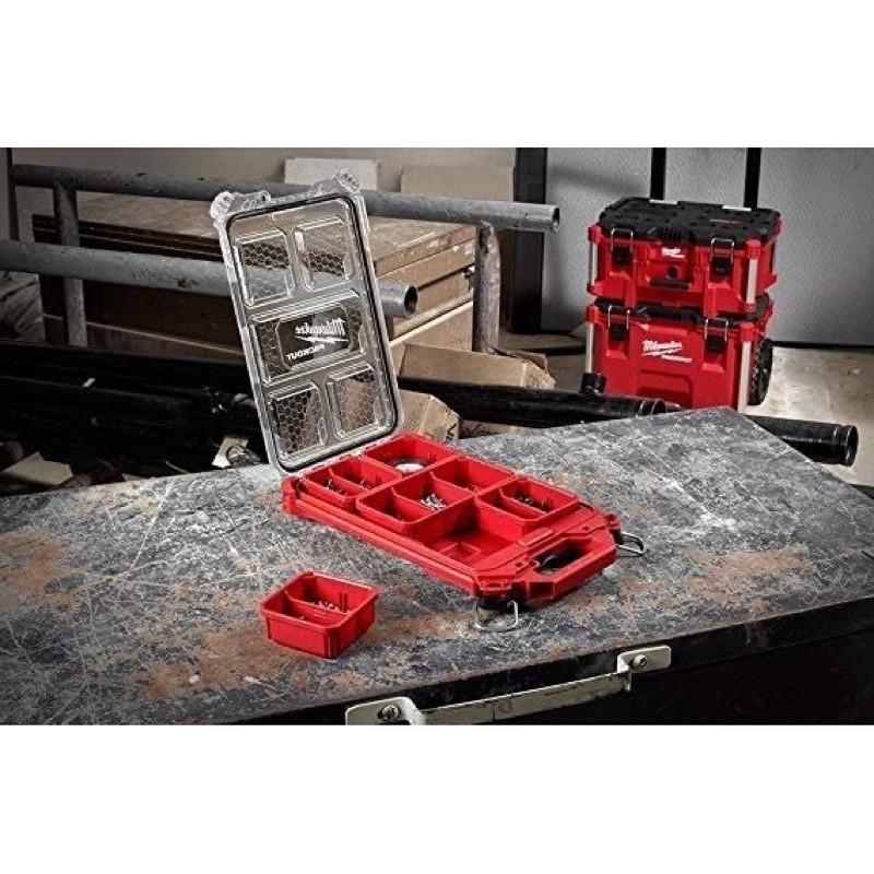美國Milwaukee 米沃奇 配套智能收納箱(薄小)可堆疊零件整理盒工具箱48-22-8436