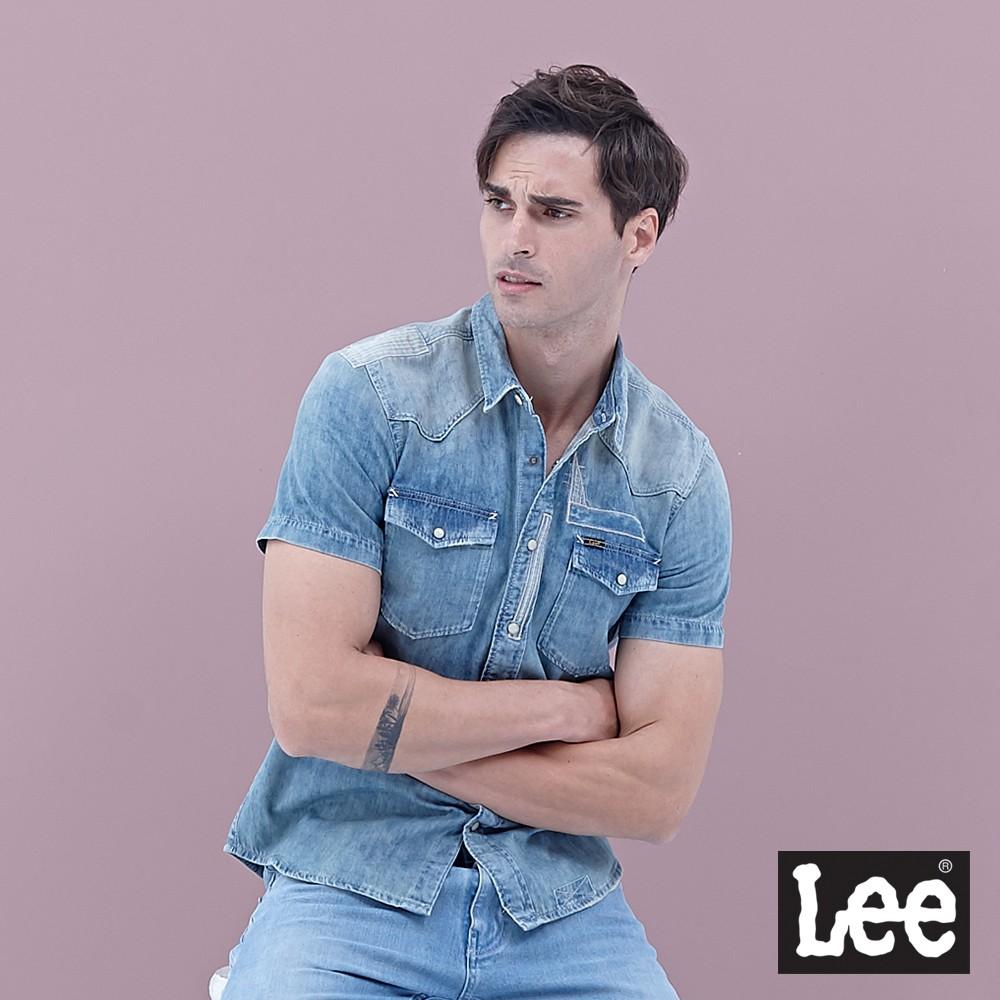 Lee 短袖牛仔襯衫 男 淺藍 刷舊拼接縫補設計 Mainline