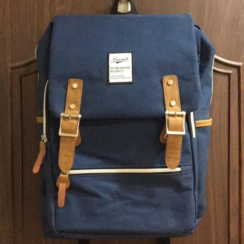 全新 spywalk 15吋 筆電包 藍色帆布後背包 肩背包