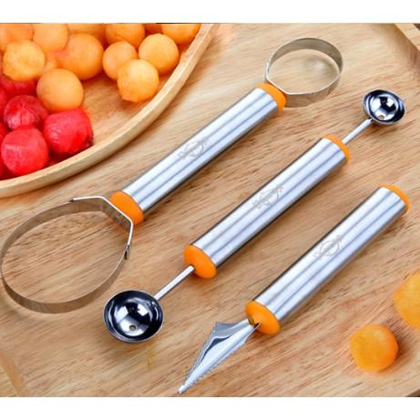 304不銹鋼水果挖球器套裝 挖西瓜勺分割拼盤雕花刀切水果神器