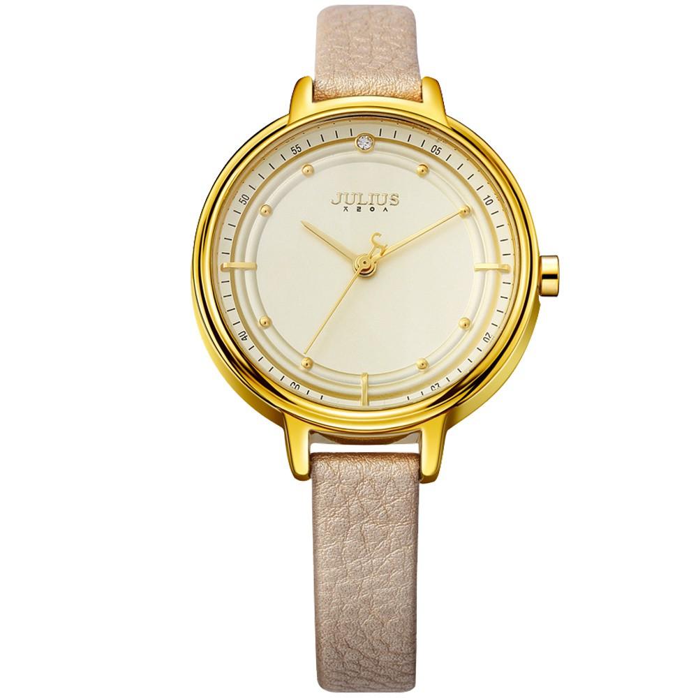 JULIUS聚利時 理想情人點鑽皮帶手錶 (33mm)香檳金