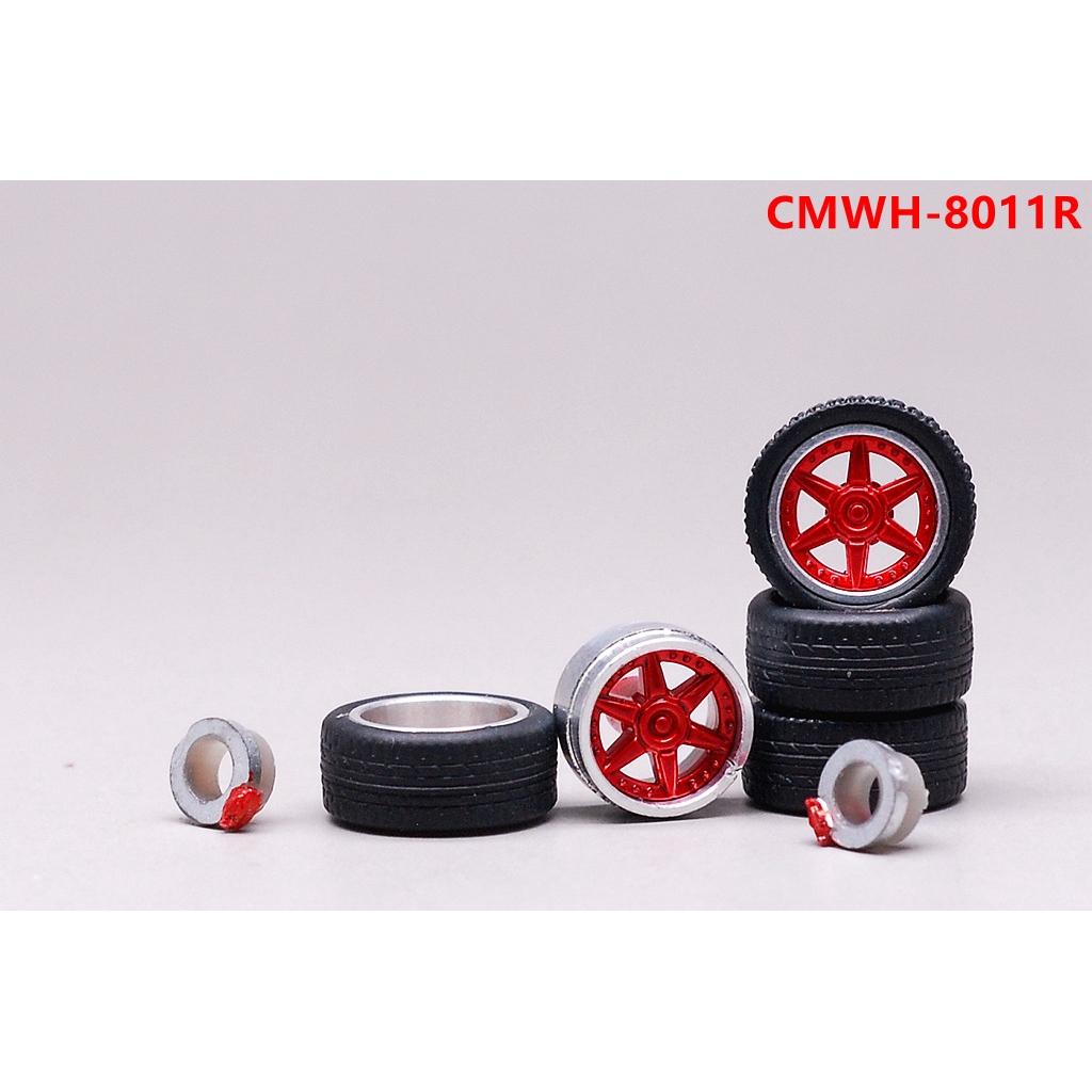 EHC Model🚗1:64合金汽車模型改裝配件 11.2mm 金屬輪轂 橡膠輪胎 金色 紅色 銀色 黑色11/12